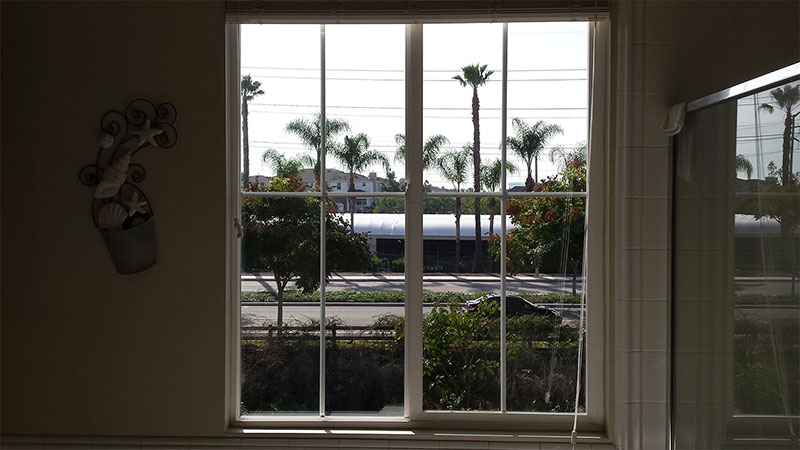Picture of window after window cleaning in Irvine by Blue Coast Window Cleaning Service.